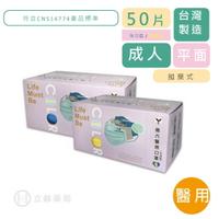 NAN LIU 南六 醫用口罩醫療級 雙鋼印 平面 海洋藍/香檳黃 50 片/盒 符合CNS14774  公司貨【立赫藥局】