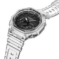 【CASIO 卡西歐】GA-2100SKE-7A(農家橡樹透明八角錶圈雙顯錶-黑面透明錶帶)