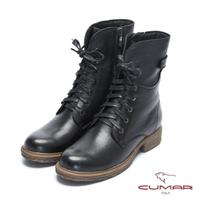 【CUMAR】率性柔美-中性風綁帶軍裝感短靴(石曜黑)