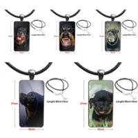 Kalung Liontin Galaksi Liontin Kaca 5 Anak Anjing Rottweiler Perhiasan Kalung Berlapis Baja untuk Pecinta Persahabatan Terbaik