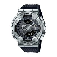 【CASIO卡西歐】G-SHOCK 工業風金屬雙顯手錶 - 黑銀 (GM-110-1A)