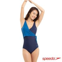 【SPEEDO】女 運動連身泳裝 Wrap(藍)