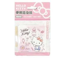 【小禮堂】Hello Kitty 方形皮質隨身雙面鏡 隨身化妝鏡 放大鏡 《粉白 化妝品》