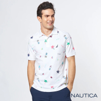 【NAUTICA】熱帶雨林印花短袖POLO衫(白)