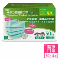 【康乃馨】兒童醫療口罩耳帶50片盒裝 未滅菌(粉綠)