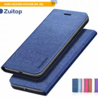 Wood grain PU Leather Phone Case For AGM A9 Flip Book Case For AGM H1/AGM A9 JBL Business Wallet Case Soft Silicone Back Cover