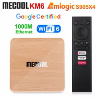 Mecool KM6 Amlogic S905X4 Deluxe Edition TV Box Android 10 4GB 32GB 64GB Wifi 6 Google Certified Support AV1 1000M Media Player
