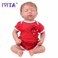 IVITA WG1507RH 46Cm 3.2Kg 100% Full Body Silikon Realistis Mata Tertutup Reborn Boneka Bayi dengan Pakaian Bebe Natal mainan