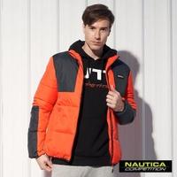【NAUTICA】保暖立領防寒科技羽絨外套(黑橘)