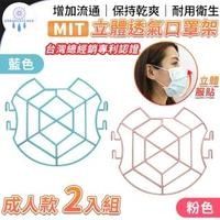 台灣總經銷!MIT專利設計立體透氣口罩架2入款-成人款天空藍(口罩支架 口罩支撐架 口罩神器 臺灣製造)