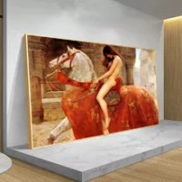 Europe Classical Lady Godiva Ride Horse Famous Nude Oil Painting On Canvas Art Posters And Prints Wall Pictures For Living Room