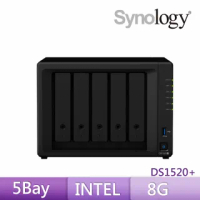 【搭APC 650VA離線式UPS+希捷 8TB Pro x2】Synology 群暉科技 DS1520+ 網路儲存伺服器