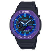 CASIO G-SHOCK GA-2100THS-1A 農家橡樹電子錶(黑X藍紫) 【贈】一組雙色錶帶