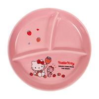 小禮堂 Hello Kitty 圓形三格陶瓷餐盤 分隔餐盤 微波餐盤 午餐盤 便當盤 強化瓷 (粉 草莓)