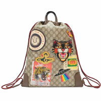 【GUCCI 古馳】473872 GG Supreme drawstring backpack 貼圖 GG 後背包(棕色)