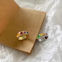 AOMU Vintage โบฮีเมียสีสันเคลือบ Love Heart แหวนน่ารักโลหะเงินทองแหวน Punk Rock เครื่องประดับ