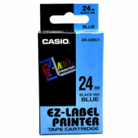 【CASIO 卡西歐】標籤機專用色帶-24mm藍底黑字(XR-24BU1)