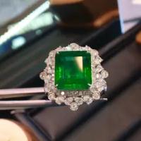 4.98 กะรัตธรรมชาติแซมเบีย Emerald แหวนหินด้านข้าง Nautral แหวนเพชร 14 K สีขาวทองสำหรับผู้หญิง