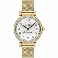 【COACH】Madison金色鋯石圓框不鏽鋼錶帶手錶