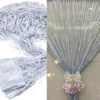 1 M * 2 M Silver หนังผ้าม่าน String ม่านประตูหน้าต่างตกแต่งอเนกประสงค์สำเร็จรูปผ้าม่าน