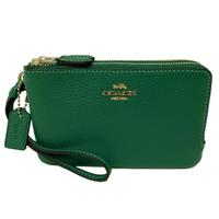 【COACH】牛皮L型雙層拉鍊手拿零錢包(郵差綠)