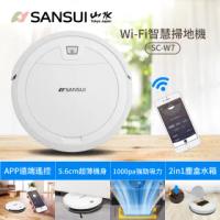 【SANSUI 山水】超薄美型WIFI智能濕拖掃地機器人SC-W7(支援Google音箱)