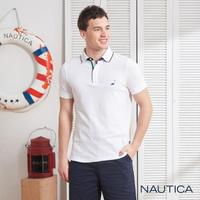 【NAUTICA】經典款撞色領短袖POLO衫(白色)