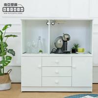 【南亞塑鋼】3.6尺二門三抽二拉盤防水塑鋼電器櫃/收納餐櫃(白色)