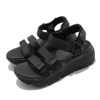 【SKECHERS】涼鞋 Max Cushioning-Lured 女鞋 加厚中底 避震 緩衝 魔鬼氈 回彈 黑(140218BBK)