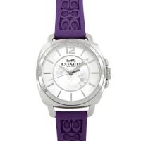 【COACH】C LOGO立體浮雕橡膠錶帶女士腕錶-葡萄紫色(買就送璀璨水晶觸控筆)