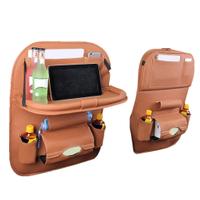 皮革汽車座椅收納袋 折疊儲物袋 餐桌置物袋 座椅後背垃圾桶
