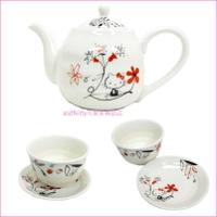 asdfkitty可愛家☆日本金正陶器 KITTY紅色亞洲風陶瓷泡茶壺1個+杯盤組2組-日本製