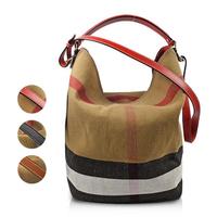 【BURBERRY 巴寶莉】經典格紋棉麻肩斜兩用子母水桶包(三色可選)