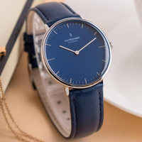 【Nordgreen】ND手錶 Native 本真 36mm 月光銀殼×藍面 北歐藍真皮錶帶(NR36SILENANA)