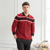 【NAUTICA】撞色條紋長袖POLO衫(紅色)