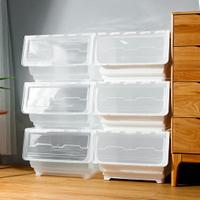 Mr.box【024107】45大面寬典雅斜口上掀式可堆疊附輪加厚收納箱(54公升-6入組)-三款可選