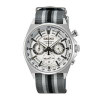 刷卡滿3千回饋5%點數|SEIKO精工 8T63-00T0U(SSB401P1) CS系列競速三眼計時手錶 / 尼龍錶帶 / 白面 41mm