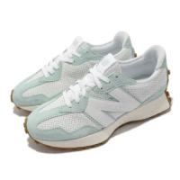 【NEW BALANCE】休閒鞋 327 復古 N字鞋 男女鞋 紐巴倫 穿搭款 麂皮 皮革 異材質拼接 白 藍(MS327PP-D)
