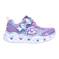 SKECHERS【302088NLVAQ】Heart Lights 小童鞋 運動鞋 電燈鞋 愛心 豹紋 蝴蝶結 紫粉