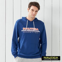 【NAUTICA】COMPETITION撞色LOGO連帽長袖T恤(藍色)