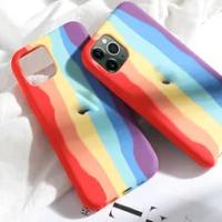 Original Rainbow สีสำหรับ Apple IPhone 12 Pro Max 11 7 8 Plus Mini XS MAX XR Gradient ซิลิโคนอย่างเป็นทางการโลโก้