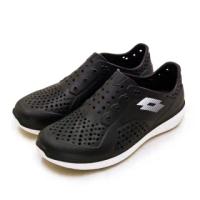 【LOTTO】男 晴雨穿搭戶外休閒運動涼鞋 ROVER洞洞鞋系列(黑白 2610)