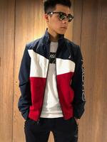 美國百分百【全新真品】NAUTICA 帆船牌 運動外套 連帽 夾克 風衣 休閒 遊艇 拼色 深藍紅白色 J055