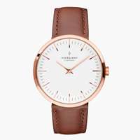 刷卡滿3千回饋5%點數|Nordgreen Infinity無限 復古棕真皮腕錶32mm(IN32RGLEBRXX)