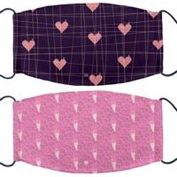 【IHERMI】紫底紅心 / 粉紅愛心 個性口罩 台灣製(耐用 舒適 透氣 可水洗 重複使用 創意 幾何 清新)