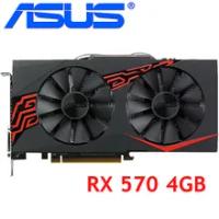 ASUS Video Card RX 570 4GB 256Bit GDDR5 Graphics Cards for AMD RX 500 series VGA Cards RX570 4GB RX570 DisplayPort HDMI DVI Used