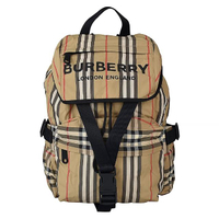 【BURBERRY 巴寶莉】BURBERRY ICON STRIPE經典格紋尼龍後背包(小/米)