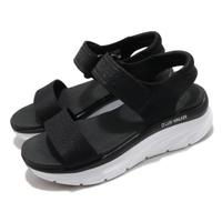 【SKECHERS】涼鞋 D Lux Walker 休閒 女鞋 厚底 輕量 魔鬼氈 膠底 健行 郊遊 黑 白(119226BLK)