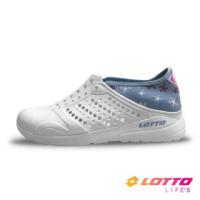 【LOTTO】女 粉點洞洞鞋(白/水藍-LT1AWS3686)