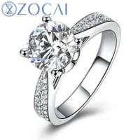 ZOCAIแหวนสำหรับความรักจริง1.0 CTจีไอเอได้รับการรับรองF-G/SIรอบตัดเพชรแหวนหมั้นผู้หญิง18พันสีขาวทอง(...
